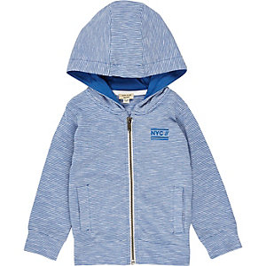 Mini boys blue lightweight hoodie