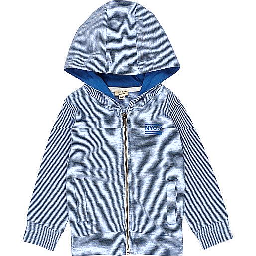 Sweat à capuche léger bleu pour mini garçon