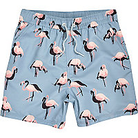 Boys aqua flamingo print swim trunks