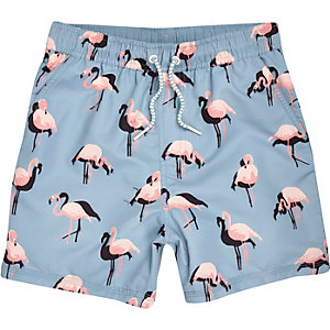 Boys aqua flamingo print swim trunks