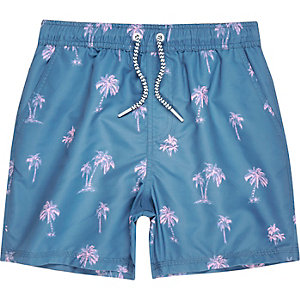 Boys navy print swim trunks
