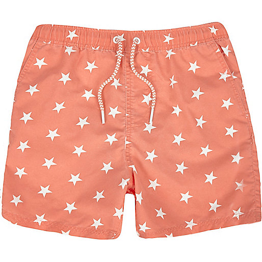 Boys orange star print swim trunks
