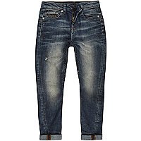 Boys mid blue wash Chester tapered jeans