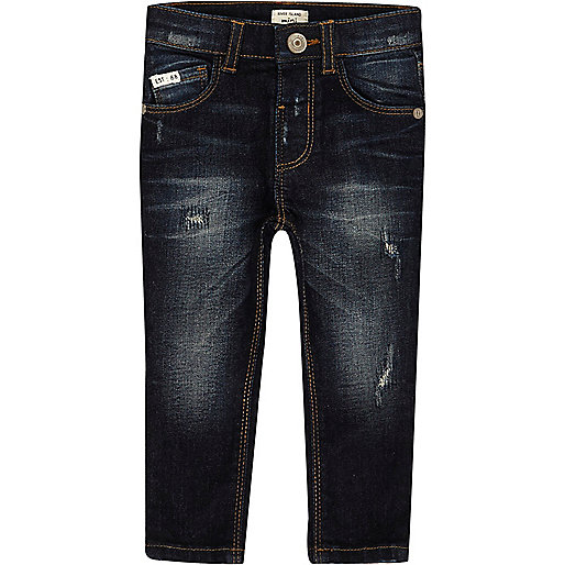 Mini boys dark blue wash Sid skinny jeans