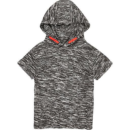 Mini boys grey tipped hoodie