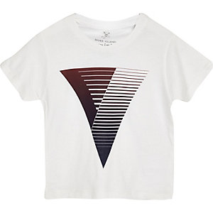 Mini boys white graphic print t-shirt