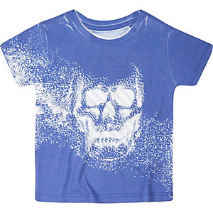 Mini boys blue skull print t-shirt