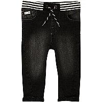 Mini boys black washed ribbed hem jeans