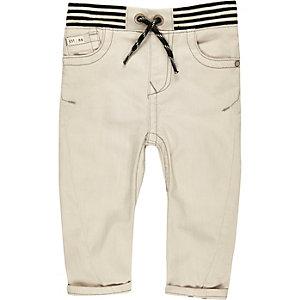 Mini boys ecru ribbed hem jeans