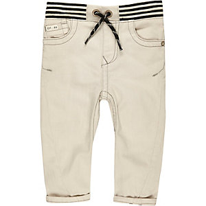 Mini boys ecru ribbed hem jeans