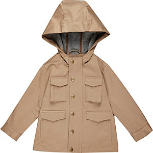 Mini boys ecru four pocket hooded jacket
