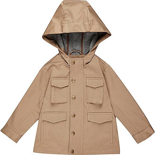 Mini boys ecru four pocket hooded jacket