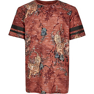 Boys rust brown tiger print t-shirt