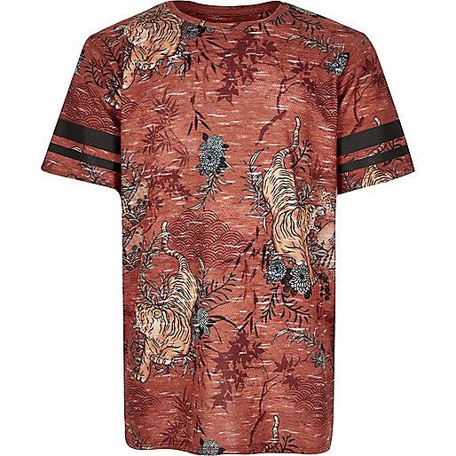 Boys rust brown tiger print t-shirt