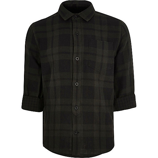 Boys grey checked shirt