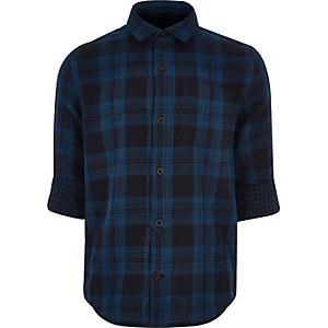 Boy blue checked shirt