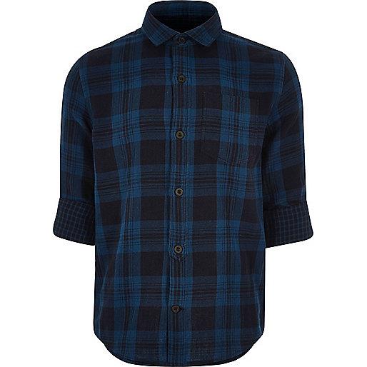 Chemise bleue à carreaux garçon