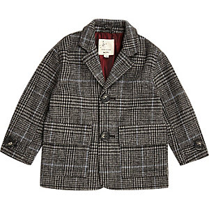 Mini boys grey wool overcoat