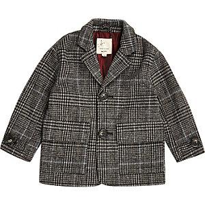 Manteau à carreaux gris mini garçon