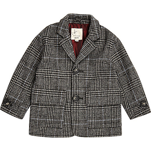 Mini boys grey check overcoat