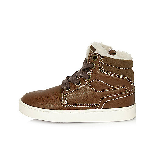 Mini boys brown borg lined boots