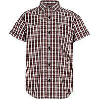 Boys red check short sleeve shirt