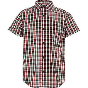 Boys red checked short sleeve shirt