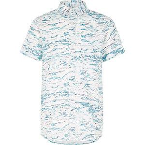 Boys white print short sleeve shirt