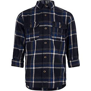 Chemise à carreaux bleu marine pour garçon