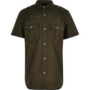 Boys khaki textured military shirt