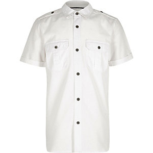 Boys white textured military shirt