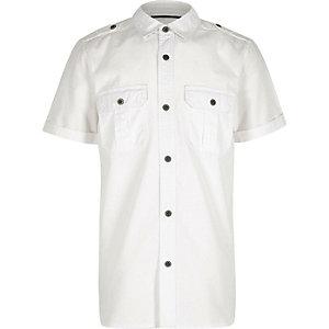 Chemise blanche texturée style militaire pour garçon
