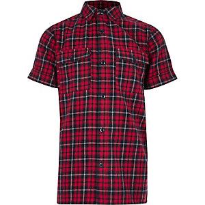 Chemise rouge à manches courtes et carreaux pour garçon
