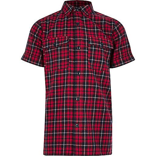 Boys red checked short sleeve shirt