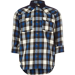 Boys blue check Western shirt
