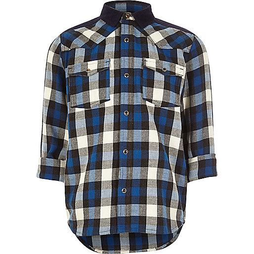 Blaues, kariertes Westernhemd