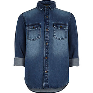 Boys mid blue wash denim shirt