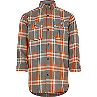 Boys orange checked shirt