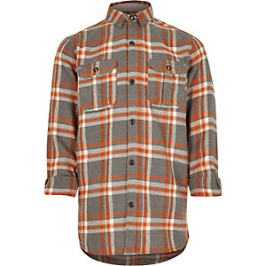 Boys orange checked shirt