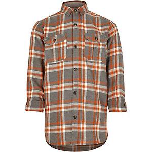 Chemise à carreaux orange pour garçon
