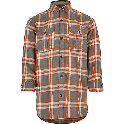 Boys orange check shirt