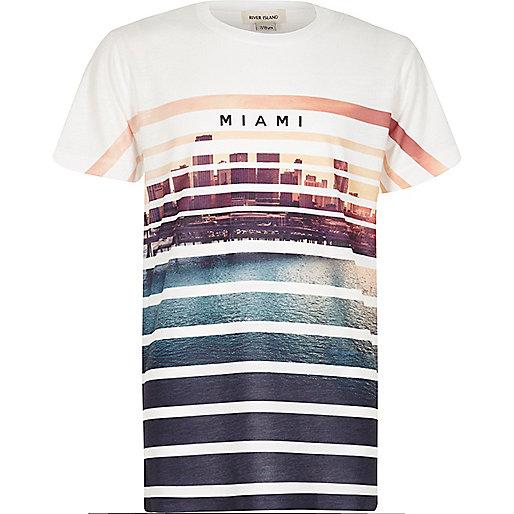 Boys white Miami print t-shirt