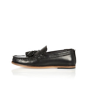 Boys black leather loafers