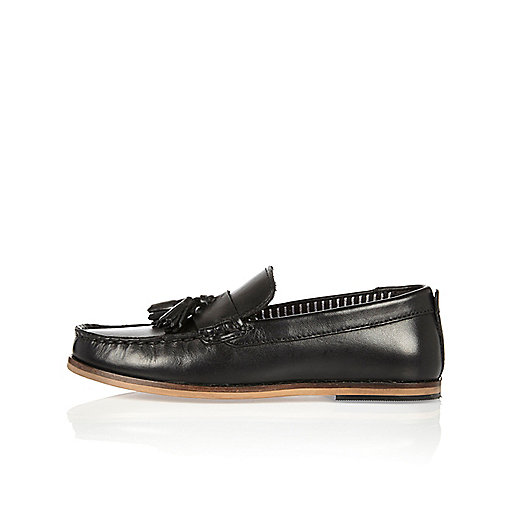 Boys black leather moccasin loafers