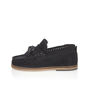 Mini boys navy suede tassel loafers