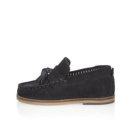 Mini boys navy suede tassel loafers