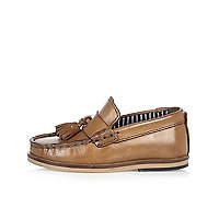 Mini boys tan leather tassel loafers