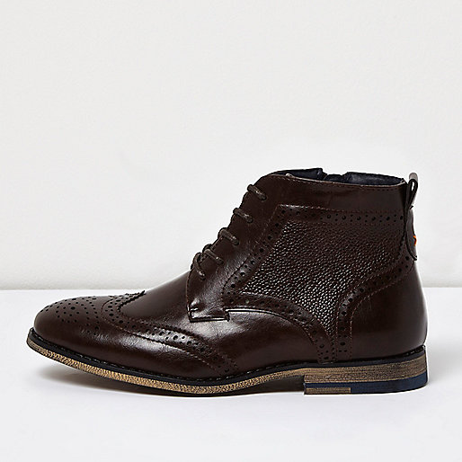 Boys brown brogue boots