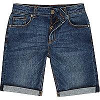 Short en jean bleu délavé pour garçon