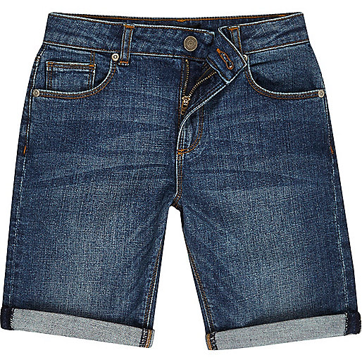 Boys blue wash denim shorts